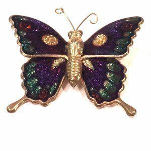 Butterfly Brooch Glitter Enamel